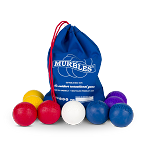 Murbles 9 ball Activity sets - 4 players, 2 balls each, in Blue, Lt. Red, Yellow, Purple with Blue bag