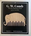 G.W. Comb: Elephant-shaped wooden comb - HAND finished with unrefined, extra virgin Jojoba Oil