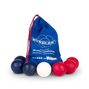 Murbles STD 7 ball Tournament set: 2 players, 3 balls each, in Red White and Dark Blue in Blue heavy duty Canvas bag