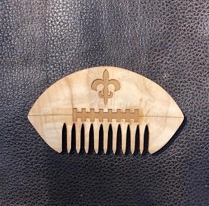 G.W. Comb: Fleur De Lis Football wooden comb - HAND finished with  unrefined, extra virgin Jojoba Oil